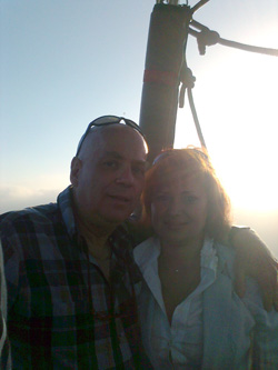 Rob and Katerina on hot air balloon